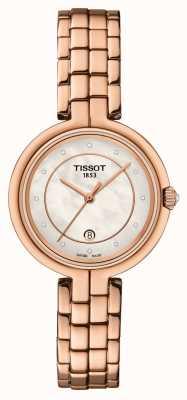 Tissot Flamingo | Perlmutt Zifferblatt | Roségold PVD Stahl T0942103311602