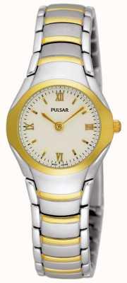 Pulsar Damen zwei Ton-Edelstahl-Armbanduhr PEG406X1