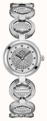 Harley Davidson Damen Kristall Set Münzglied Armband | Kristallzifferblatt 76L179