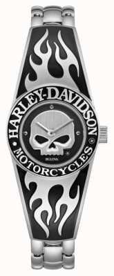 Harley Davidson Frauen flammende willie g Schädel Zifferblatt | Armreif aus Edelstahl 76L190