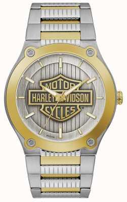 Harley Davidson Zweifarbiges Stahlarmband für Herren   silbernes Zifferblatt 78A125