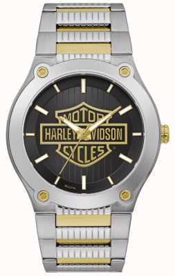Harley Davidson Zweifarbiges Stahlarmband für Herren   schwarzes Zifferblatt 78A126