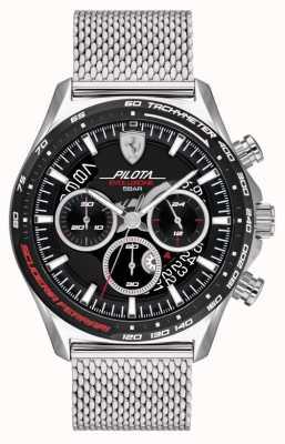 Scuderia Ferrari Herrenpilota evo | silbernes Stahlgitterarmband | schwarzes Zifferblatt 0830826