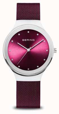 Bering Klassiker | Frauen | poliertes Silber | lila Netz 12934-909