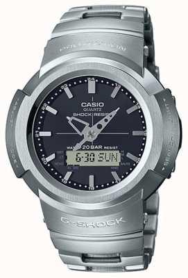 Casio G-Schock | Vollmetallarmband | schwarzes Zifferblatt | funkgesteuert AWM-500D-1AER