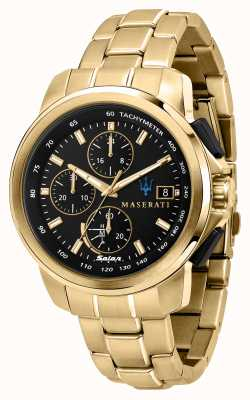 Maserati Successo Solar Herren vergoldete Uhr R8873645002
