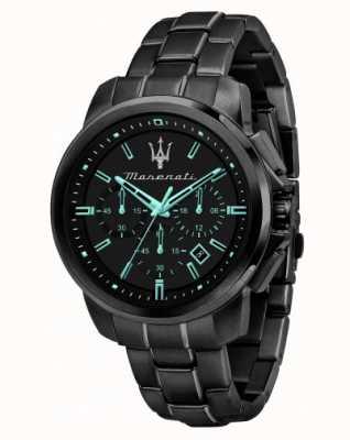Maserati Successo Aqua Edition schwarz plattierte Uhr R8873644003