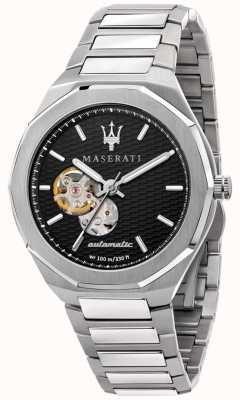 Maserati Herren Stil automatisch   Edelstahlarmband   schwarzes Zifferblatt R8823142002