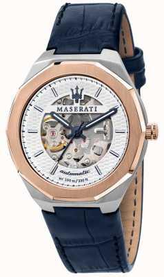 Maserati Herren Stil automatisch   blaues Lederband   silbernes Skelettzifferblatt R8821142001