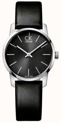 Calvin Klein Stadt Damen schwarzes Zifferblatt schwarzes Lederarmband K2G23107