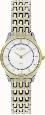 Rotary Womens zweifarbige ultra-dünne Armbanduhr LB08001/02